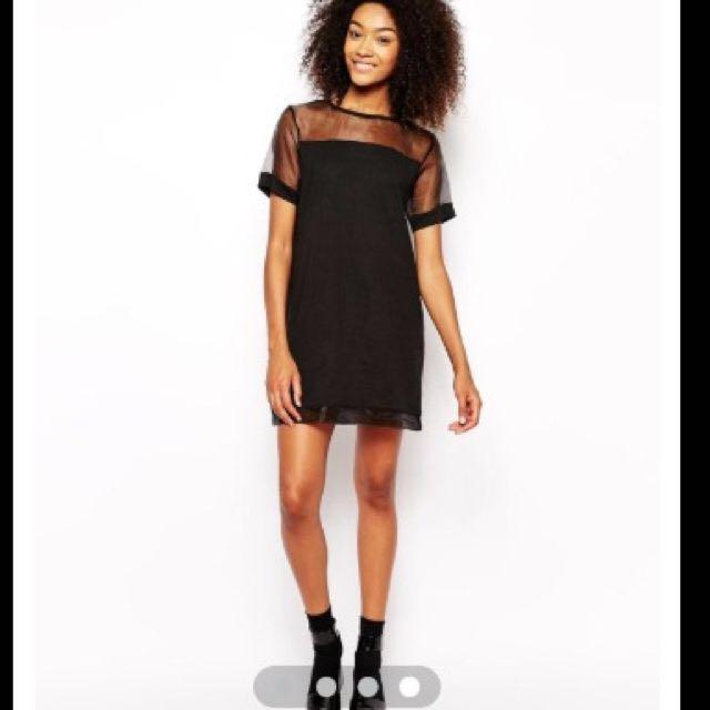 7992cdd6bb2 Daisy Street T-shirt Dress With Sheer Insert