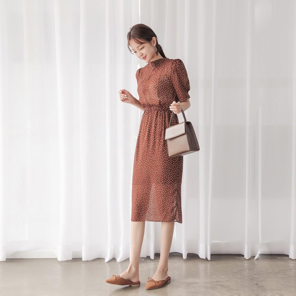 a124c51729f5 Rozley Polka Dot Midi Dress (Wine color)