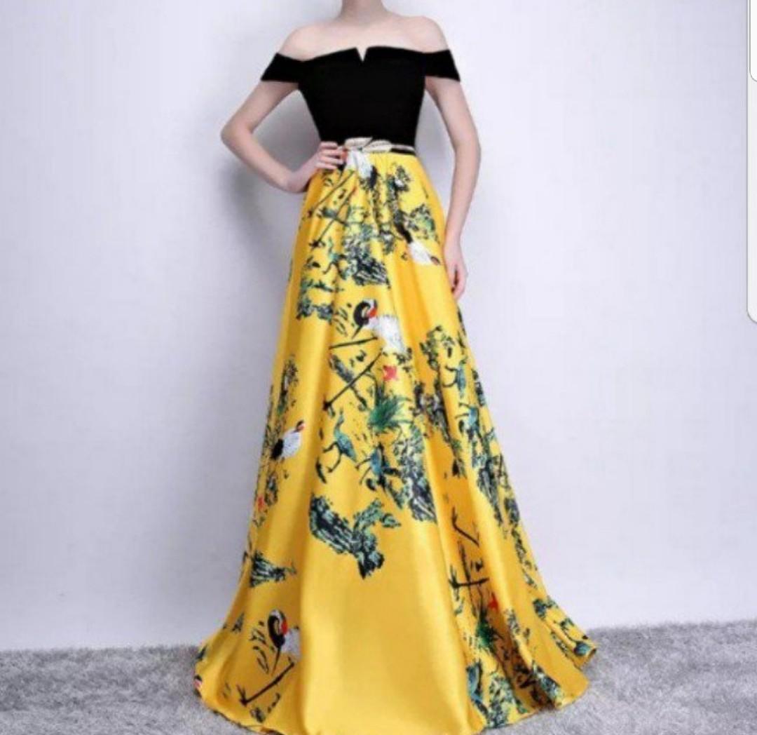 Dual tone black yellow Dress / evening gown, Women\'s Fashion ...