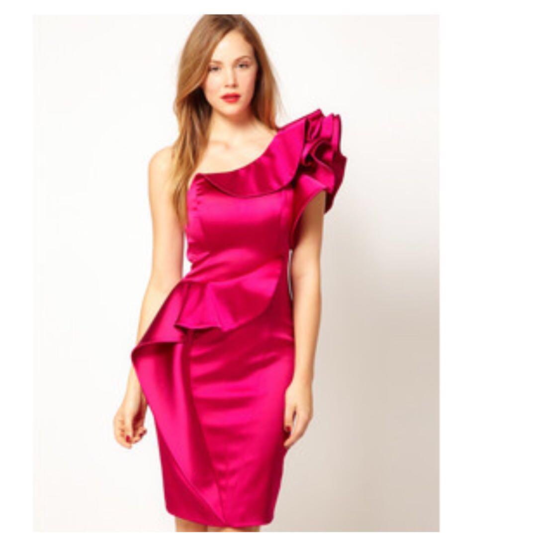 Karen Millen fuschia gown (with tag), Women\'s Fashion, Clothes ...