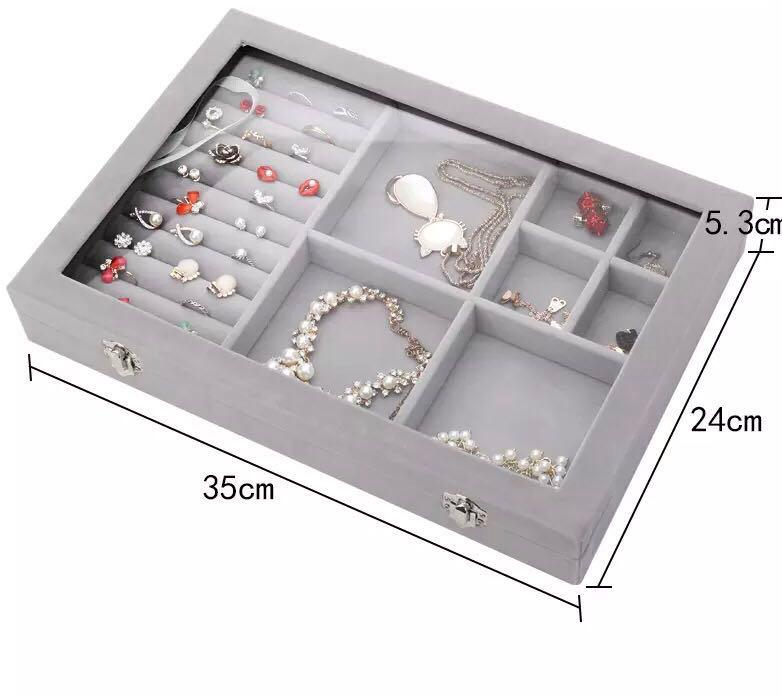 Organize case Holder Storage glass jewelry Box