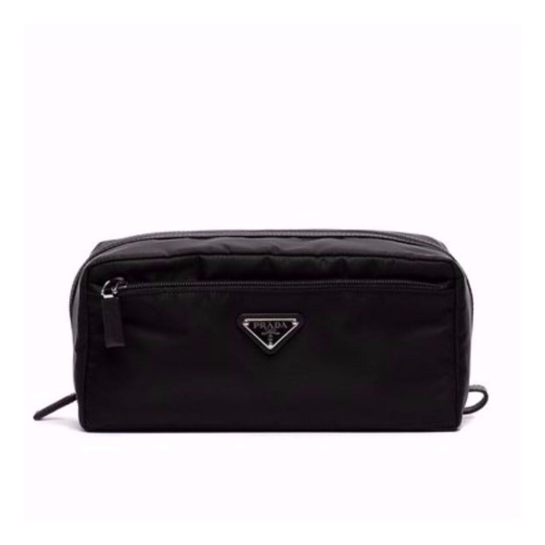 7a15fe859eaf77 PRADA Black Nylon Logo Pouch, Men's Fashion, Bags & Wallets, Others ...