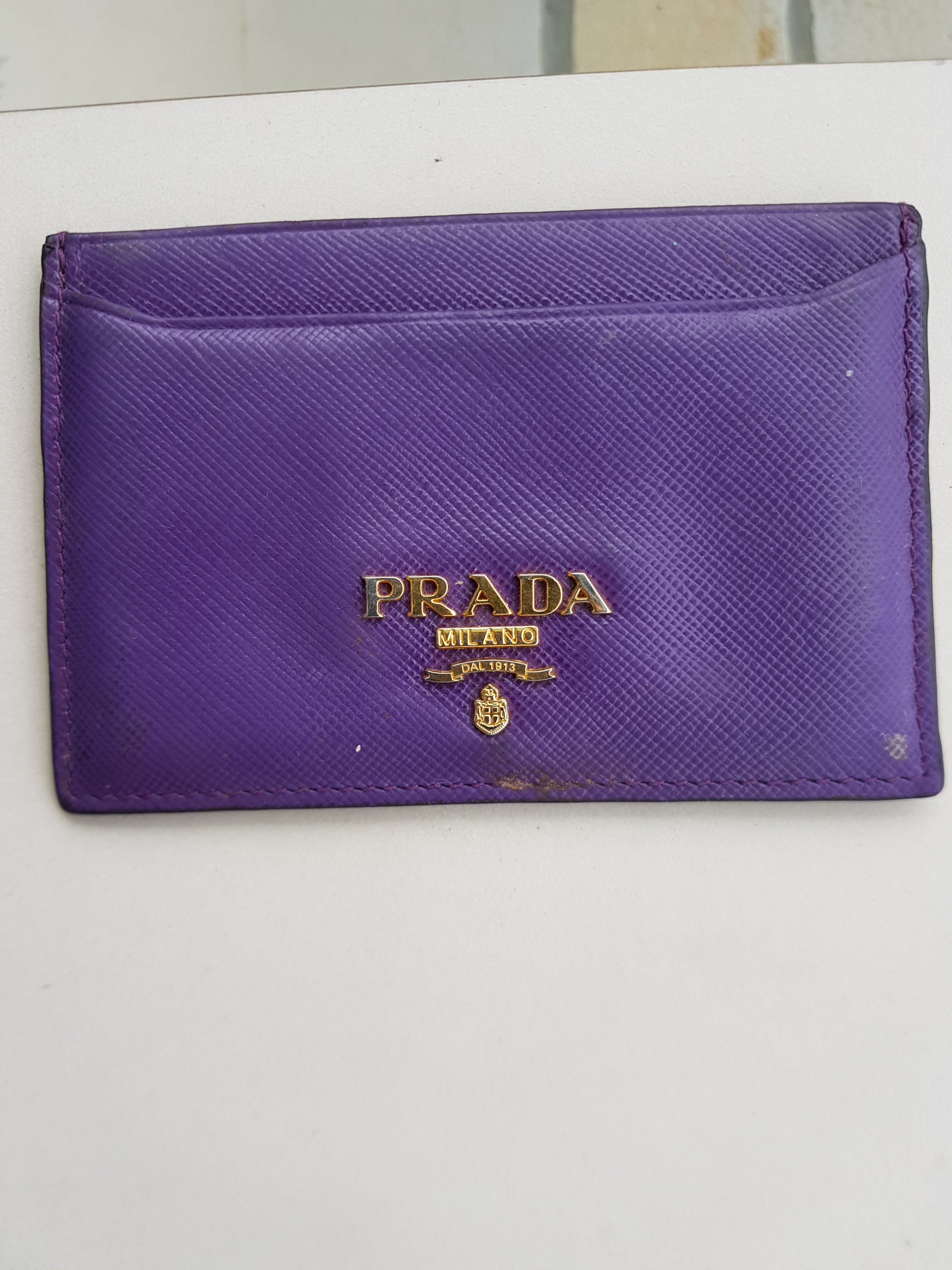 086a7ec65e97 ... authentic prada credit cardholder card holder wallet purple gold  saffiano luxury bags wallets wallets on carousell