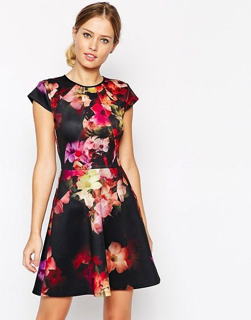 Pre-loved  Ted Baker Skater Dress in Cascading Floral Print 20956faa5