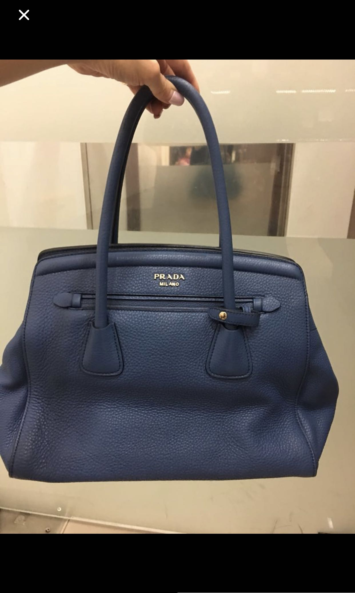 Relocation Clearance Sale   Authentic PRADA Bag in Blue Grained Leather eee05ec61fd70
