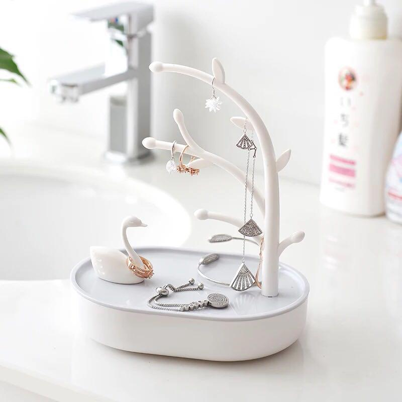 Retro tree and swan Jewelry Earrings Ring Holder Show Rack Necklace Display Stand Unique