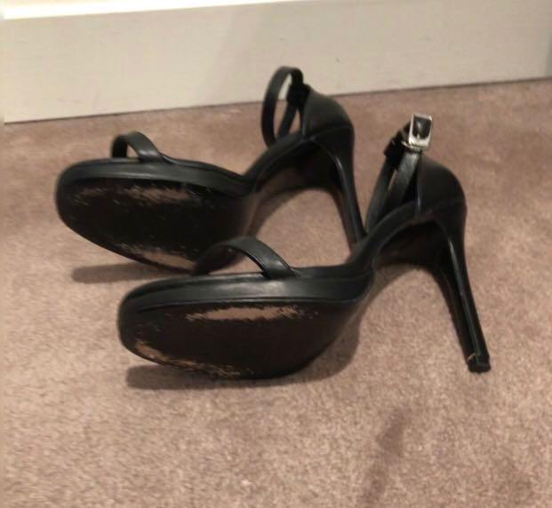 Womens Saint Laurent Black Leather Jane Ankle Strap Sandals Barely There Stiletto Heels Celebrity Blogger UK 4