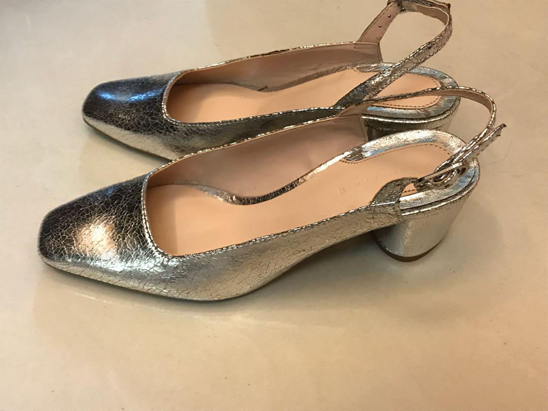 ZARA銀色方頭復古跟鞋