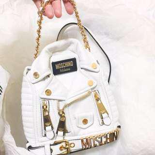 《全新有單據》Moschino White Leather Gold Biker Jacket Mini Backpack Bag 白色真皮袋
