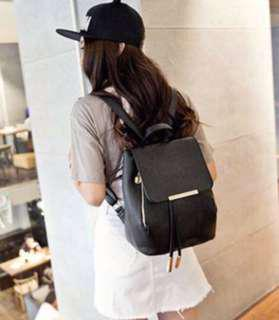 Leather Bagpack in Rice White