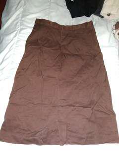 Vintage Knee-length Brown Skirt