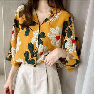🚚 Plus Size Mustard Floral Blouse