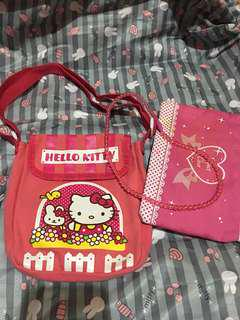 preloved hello kitty sling and pink pouch