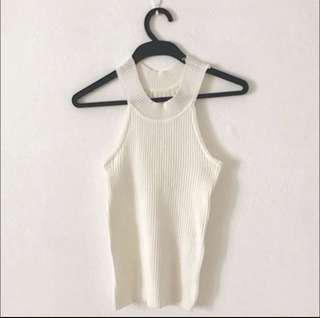 #UNDER9 BN White Ribbed Top