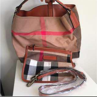 Faux Leather Plaid Tote