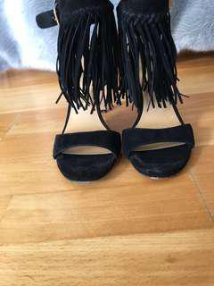 Dolce Vita Black Fringe Heels