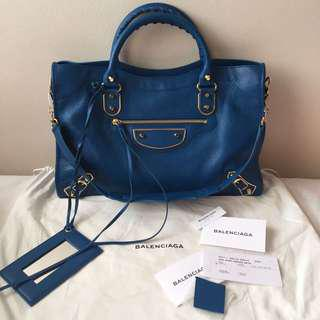 New Balenciaga Metallic Edge blue prusse
