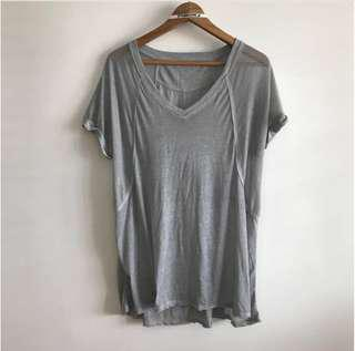 (No MeetUp No SelfCollect) BN XL Grey V Neck Short Sleeve Sheer T Shirt Top @sunwalker