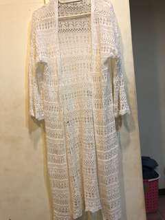 正韓-針織薄外套白色