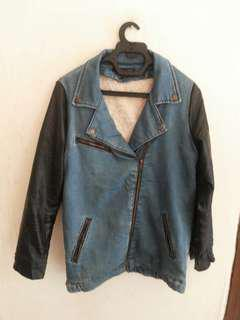 Jaket Biker Combine Jeans With Sintetis Leather Arm