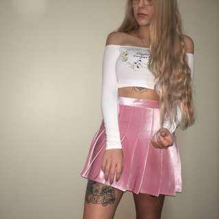 Pink velvet pleated tennis skirt skort