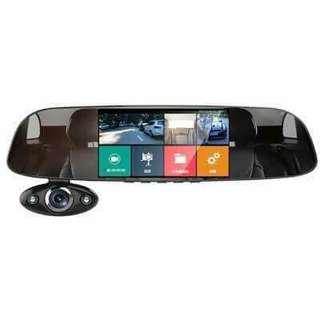 QCY B33 5 Inch 2.5D Curved Glass HD Screen Triple Recording Car DVR Support G-sensor PC Connection Parking Monitor Date Stamp Motion Detection Loop Recording Speaker