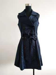 Sleeveless Navy Blue trench coat size 8-12
