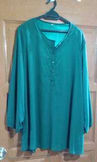 Emerald green plus size blouse 6 XL