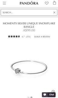 Limited edition Pandora snowflake bangle