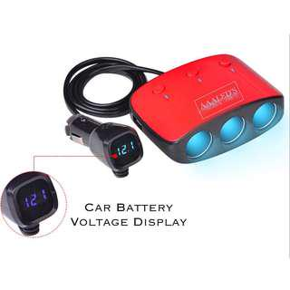 🚚 MULTI CIGARETTE PORT EXTENSION WITH DUAL USB PORT & VOLTAGE DISPLAY.