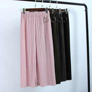 🚚 百折圓環黑色寬褲