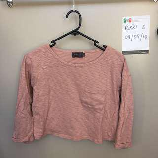Pink cropped top || size S