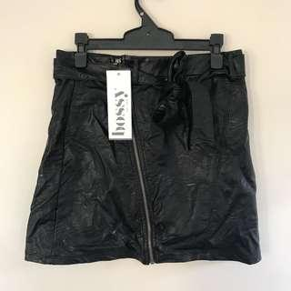 Leather look black skirt size 10