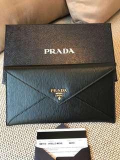Prada Black Flat Envelope Wallet