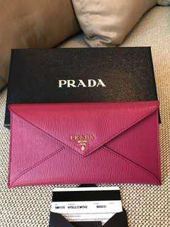 Prada Pink Envelope Flat Wallet Purse
