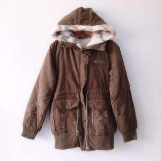 Olive Rover Drawstring Fur Hooded Down Jacket