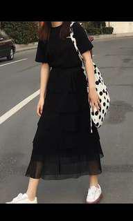 高腰雪紡層層裙 黑色