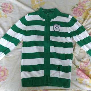 United Colors of Benetton Green & White Striped Sweater