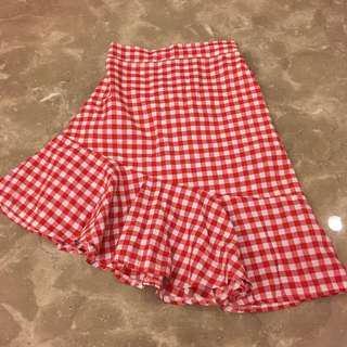 紅白不規則格子魚尾裙