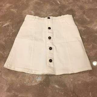 白色排扣短裙M