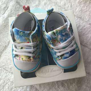 🚚 BN Ralph Lauren Baby Girl Blue Floral Sneakers/ Crib Shoes US Size 2-11cm! With Gift Box! 0-6mths
