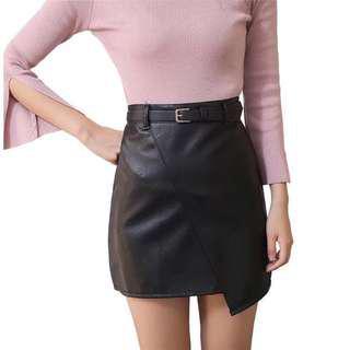 #under9 BNWT Black Asymmetrical Leather Skirt