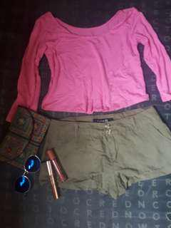 CropTop pink and forever 21 short terno