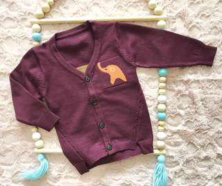 Baby kids unisex Purple Elephant sweater