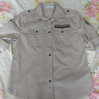 Just G. Beige Military Polo Shirt