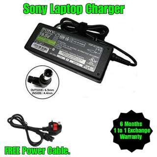 Sony Laptop Notebook Netbook TV Charger Adapter + Free Power Cable (All Model)