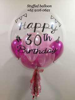 Happy Birthday Balloon, 30th birthday, 24 inch transparent clear balloon