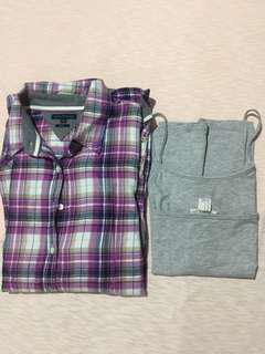 Authentic Tommy Plaid Polo Longsleeve + Free H&M Sleeveless