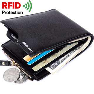 Baborry Mens short Wallet High quality RFID Theft Protection Wallet Men's Soft PU Leather Bifold Wallet with Zipper(Black)