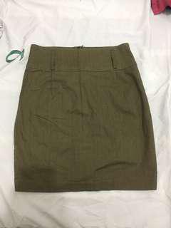 Green fabric pencil skirt